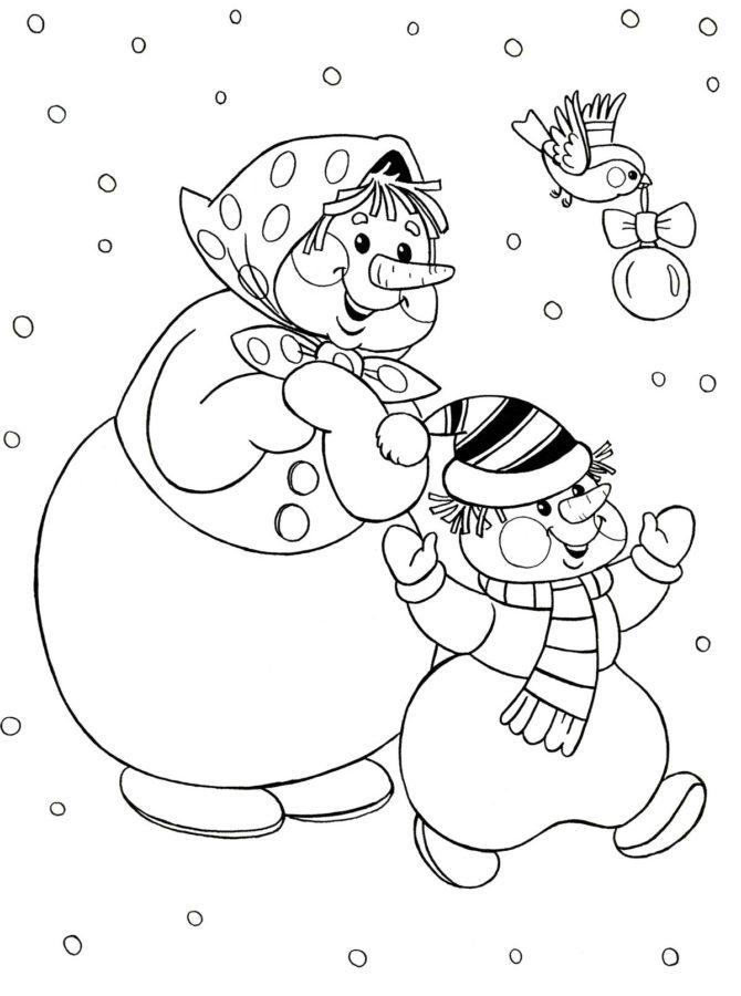 Раскраска 2 снеговика