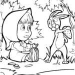 Маша просит морковку у зайки