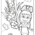 Маша с большим букетом цветов