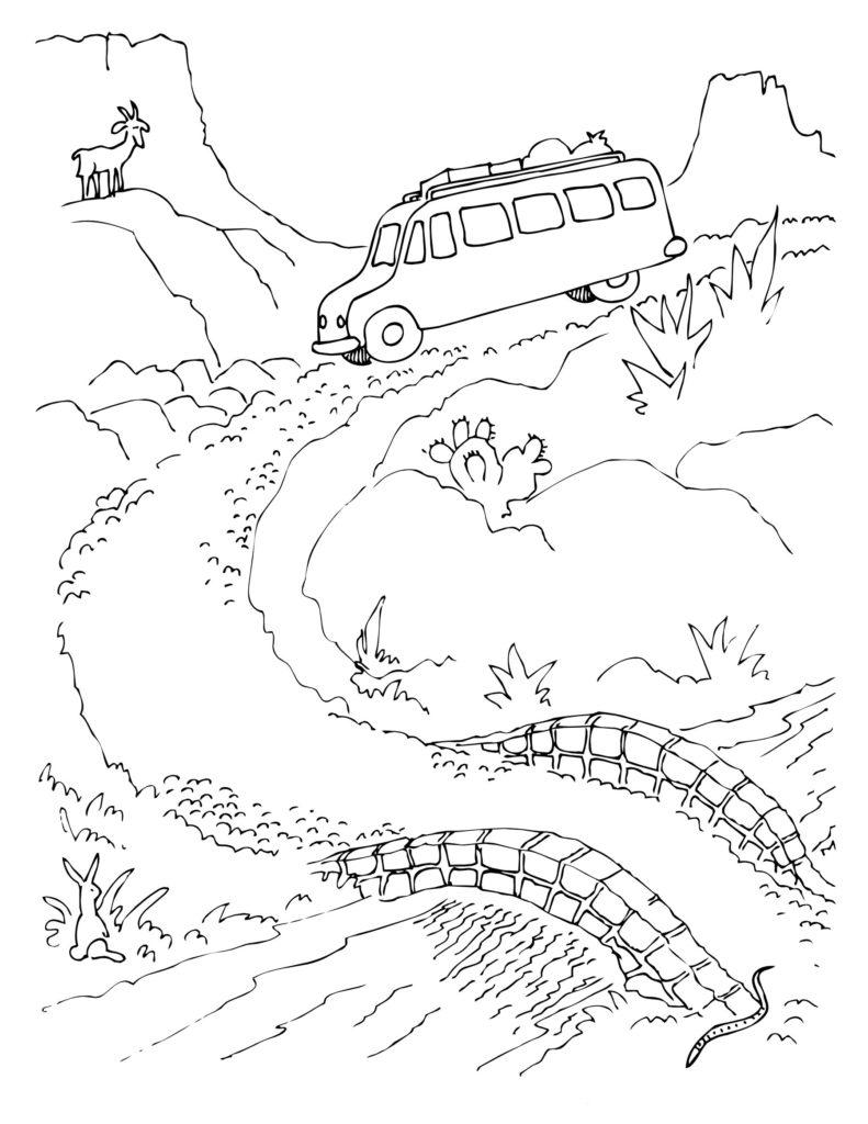 Автобус по горной дороге