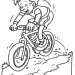 Раскраска кататься на велосипеде