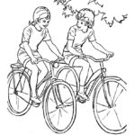 Раскраска путешествие на велосипеде