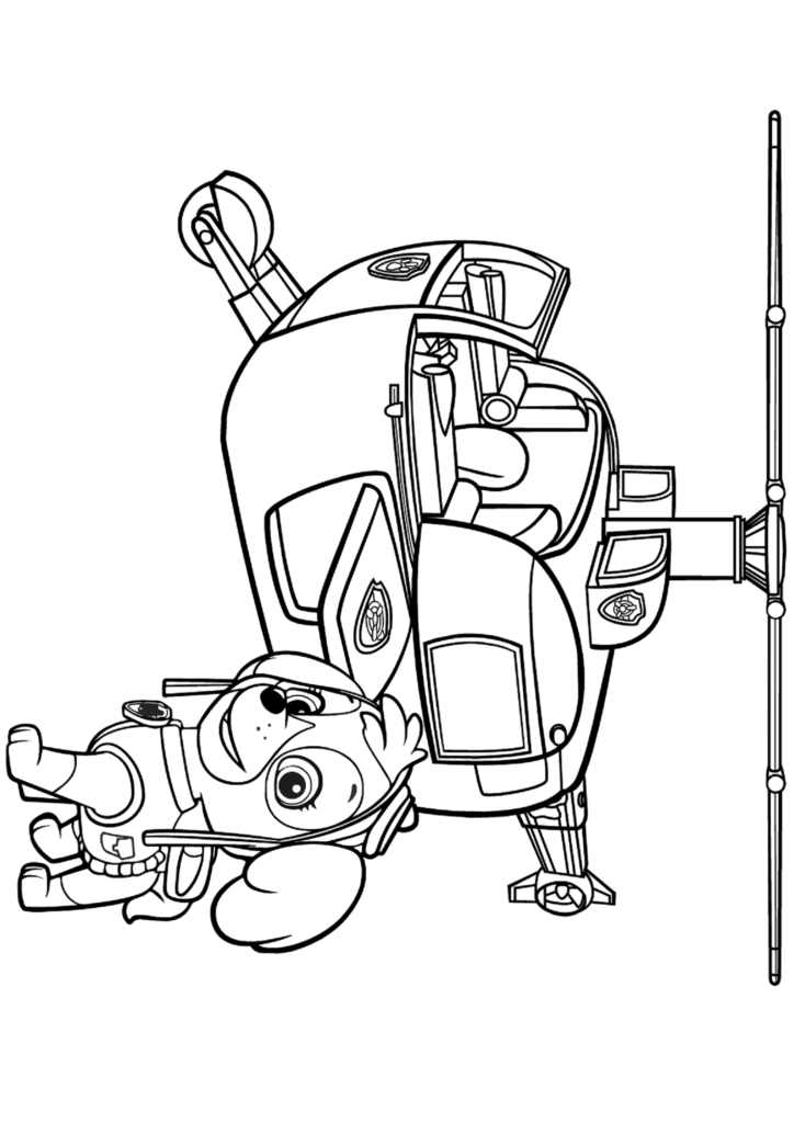 Раскраска Скай на вертолете
