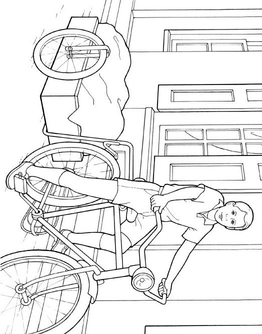 Раскраска велосипед с коляской