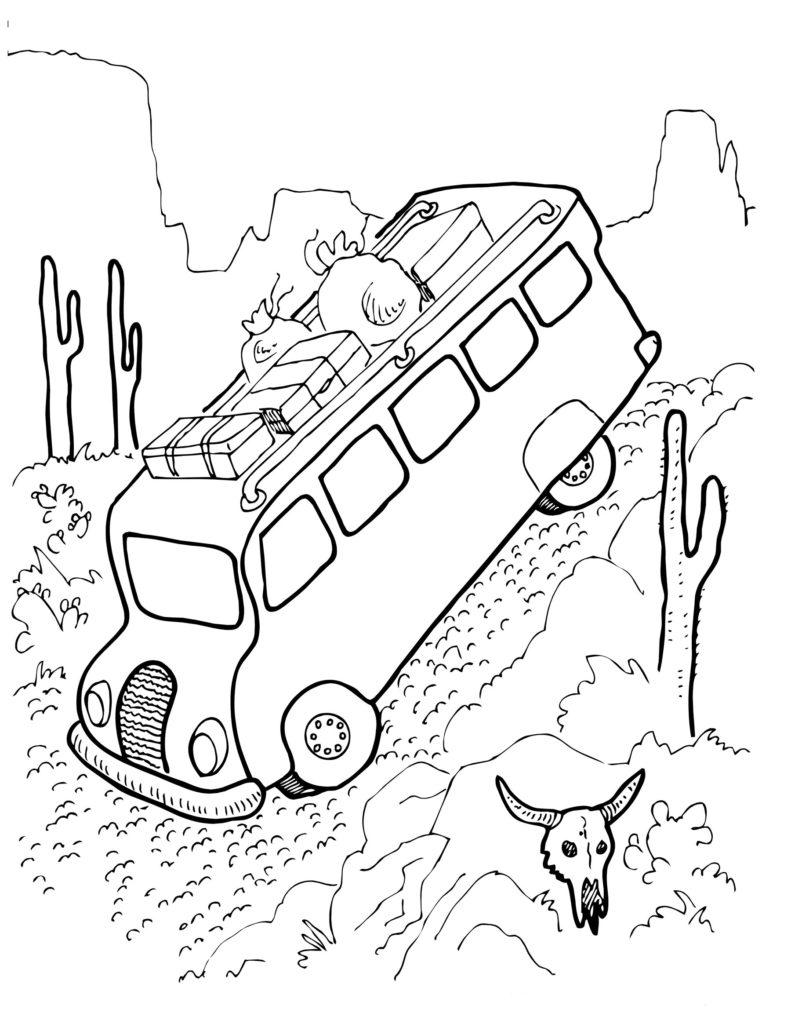 Автобус спускается с горы