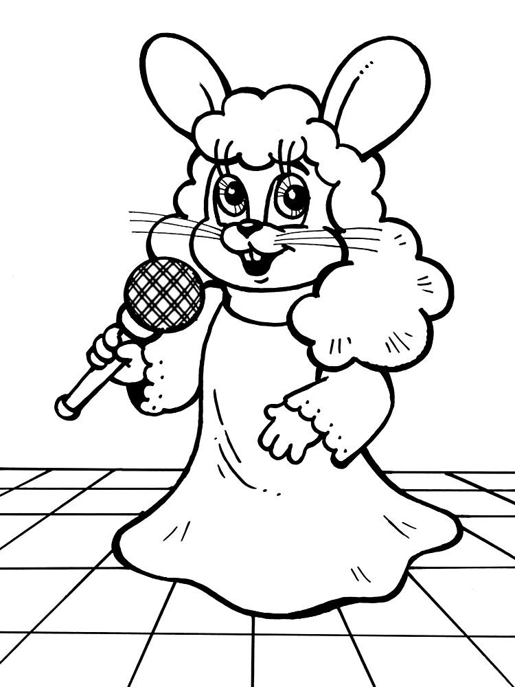 Заяц поёт в парике и платье