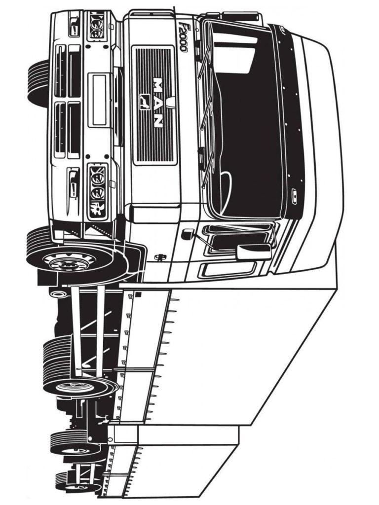 Раскраска грузовик Ман с прицепом