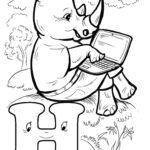 Буква Н носорог и ноутбук