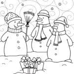 3 снеговика раскраска