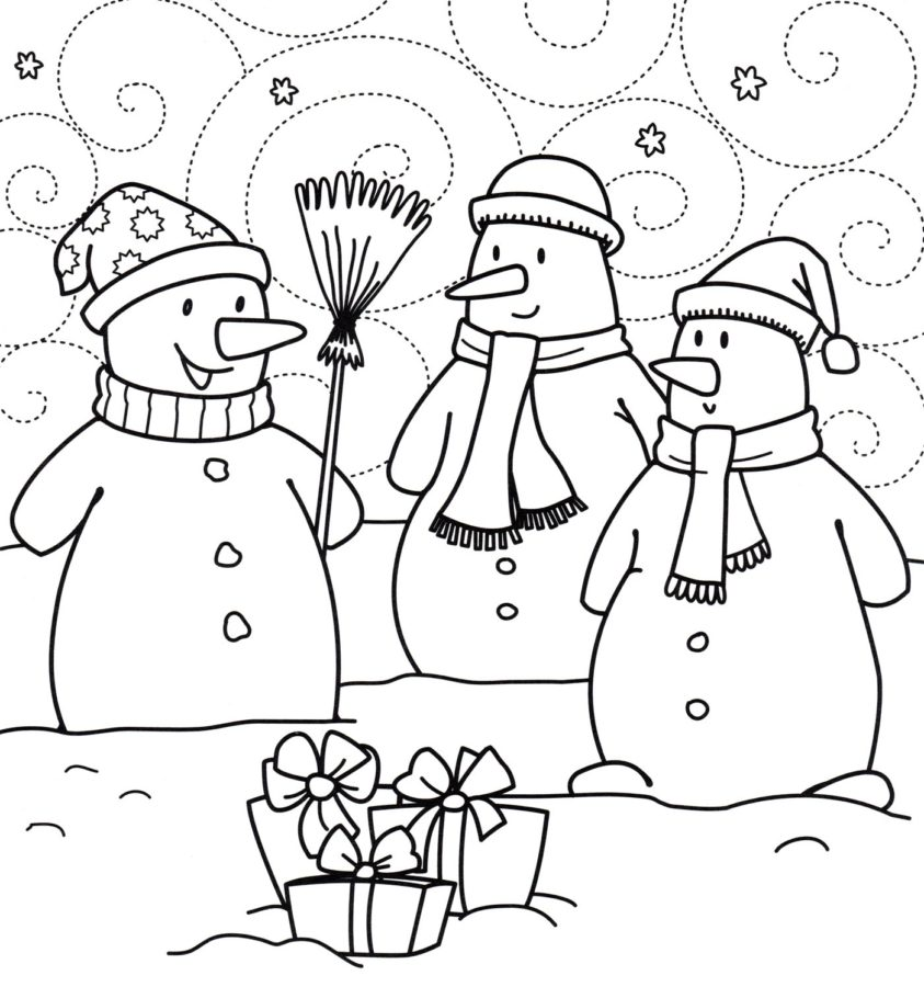 Раскраска 3 снеговика
