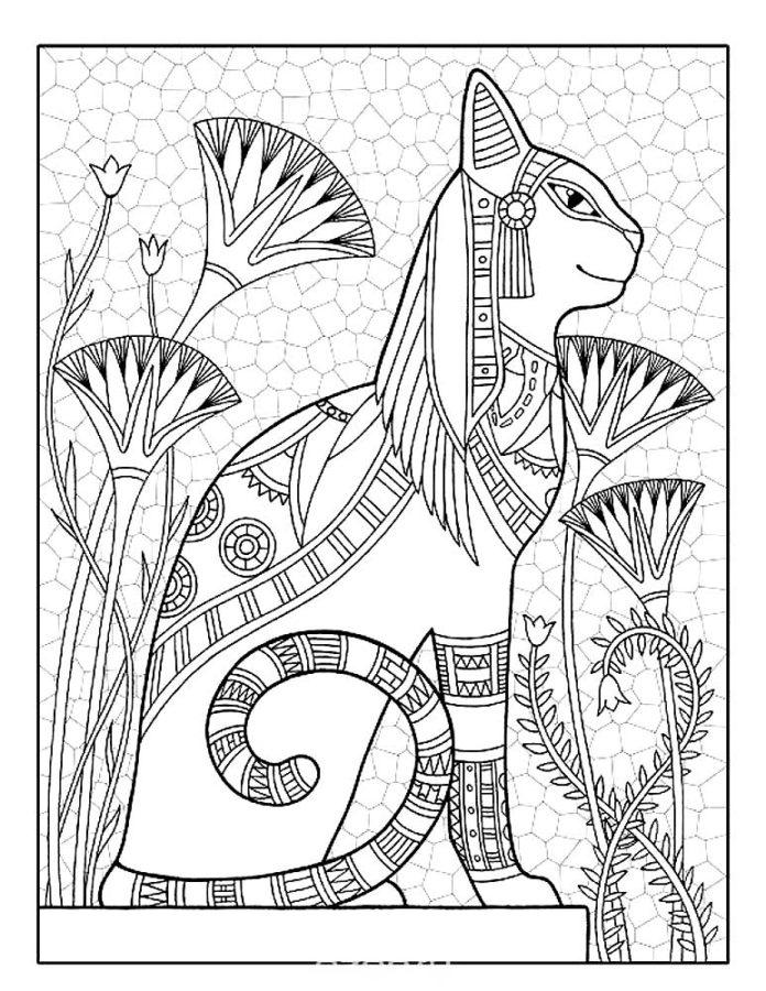 Раскраска Египетская кошка