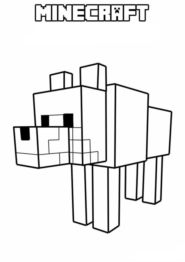 Раскраски майнкрафт собака