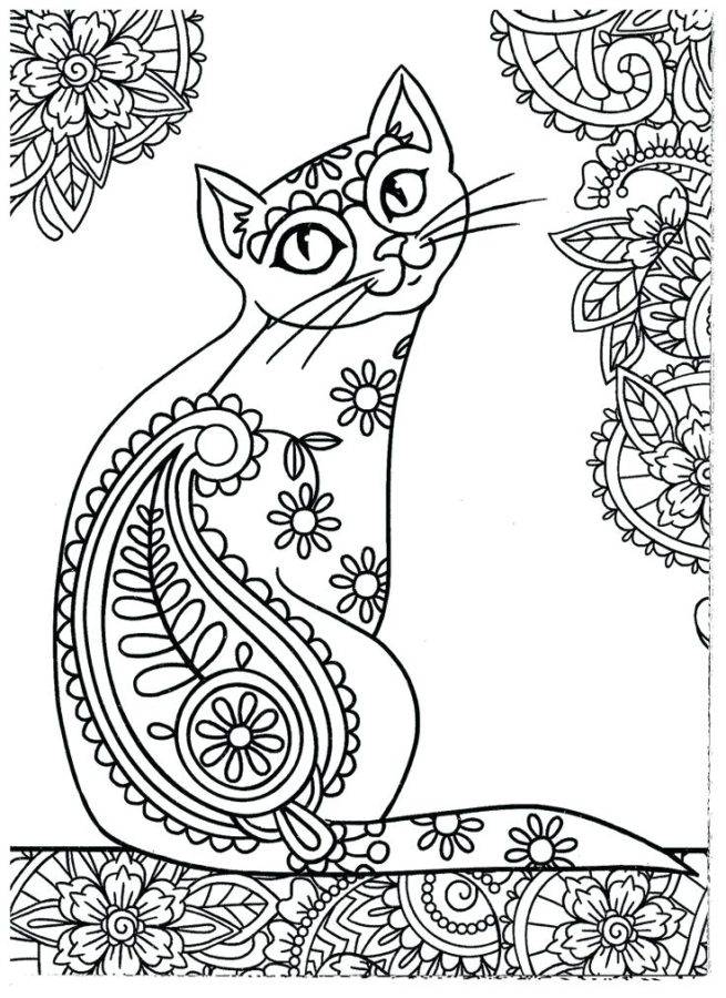 Раскраска мандалы кошка
