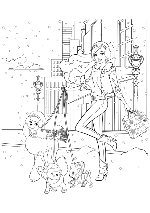 Раскраска Барби с питомцами
