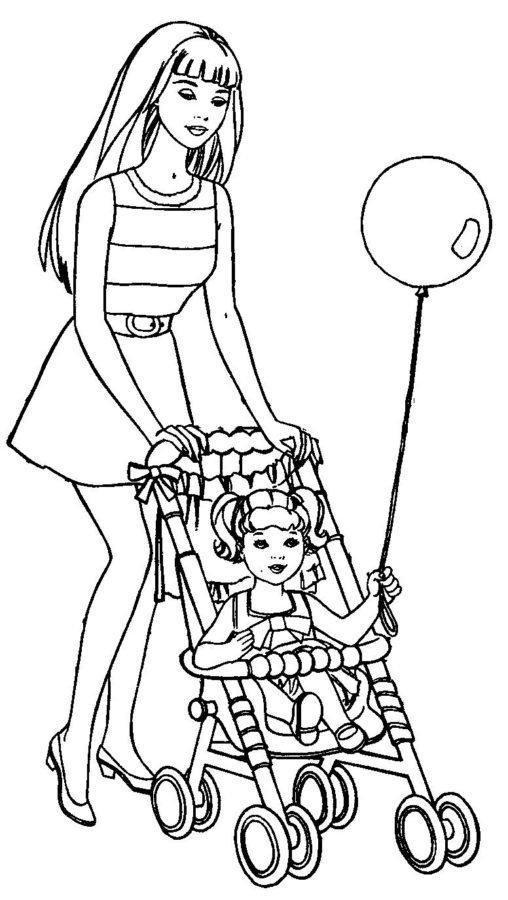 Раскраска Барби с коляской