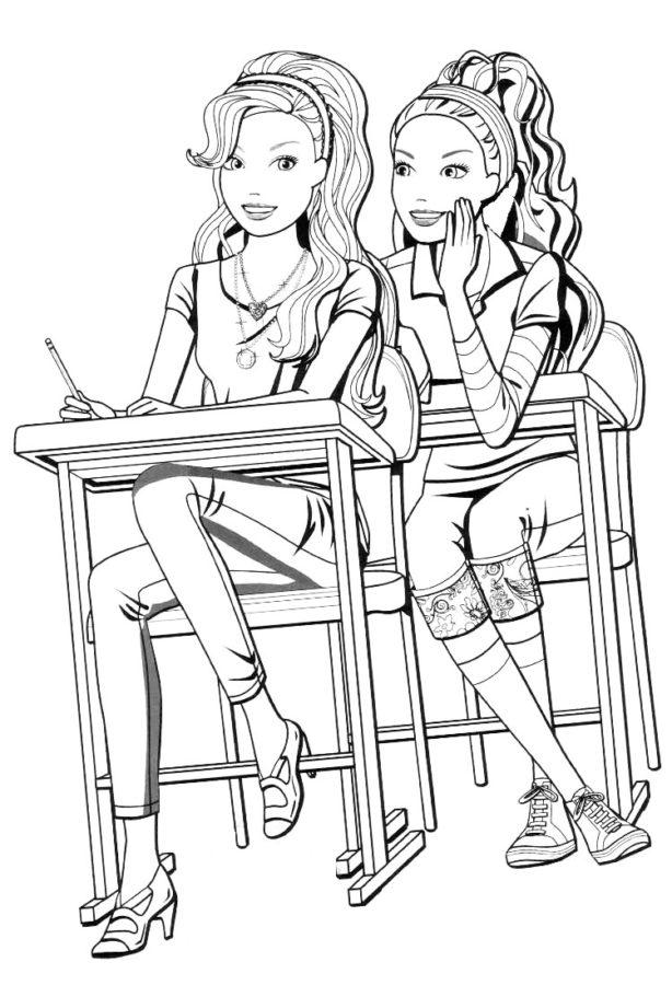 Раскраска Барби школа