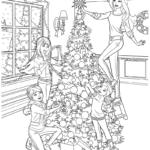 Раскраска Барби и сёстры на новый год