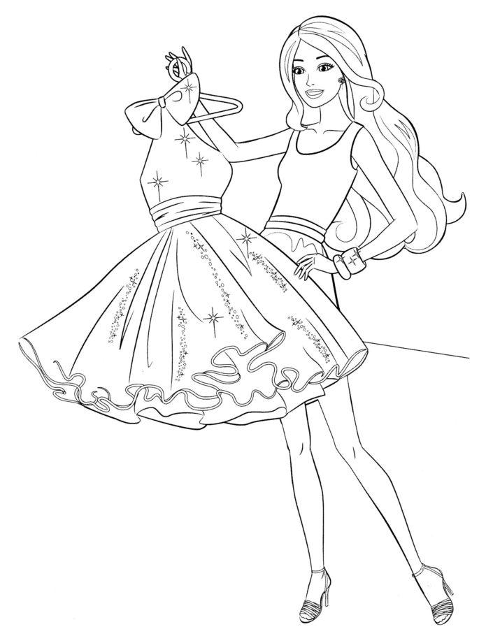 Раскраска Барби в красивом платье