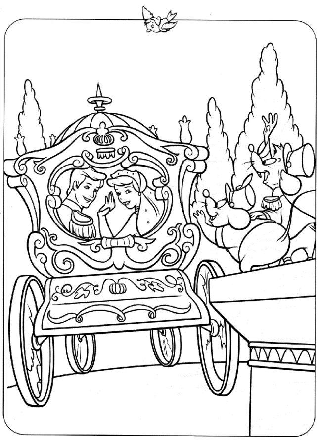Раскраска карета для золушки