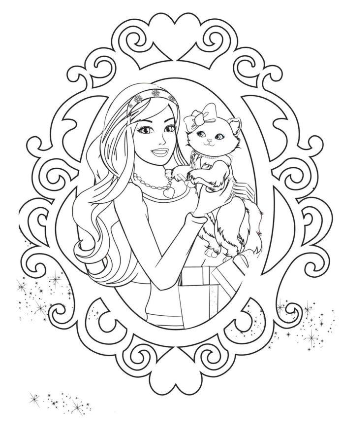 Раскраска Барби с котёнком
