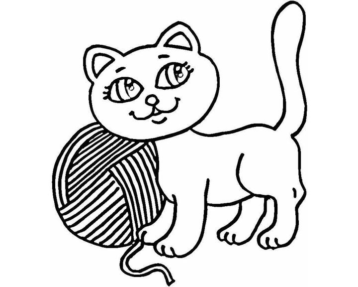 Раскраска кошка с клубком