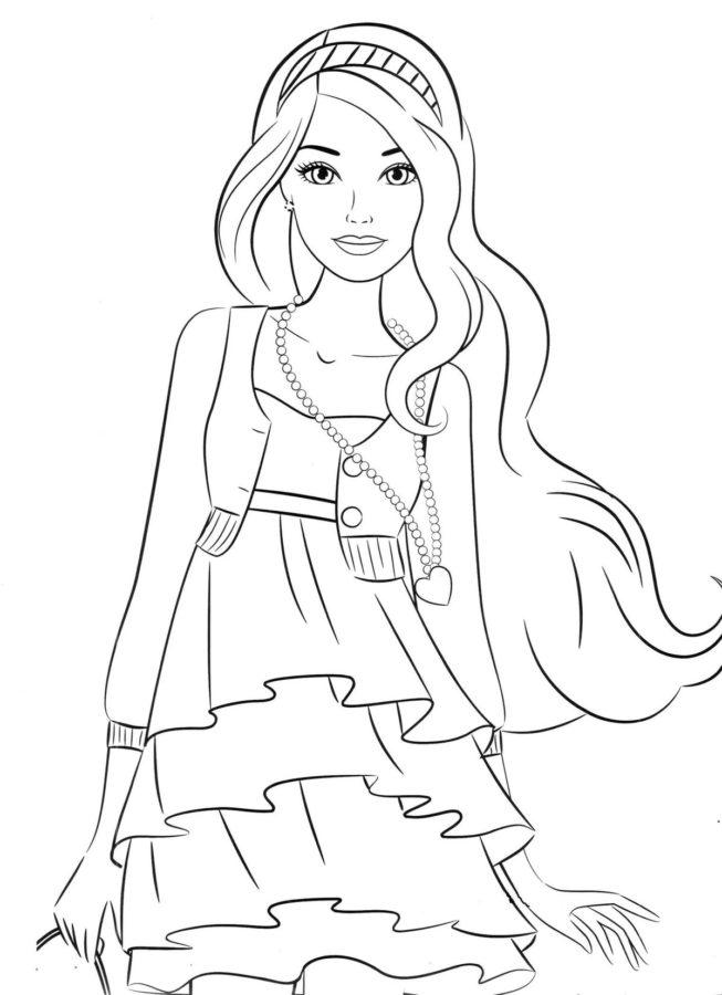 Раскраска красивая Барби