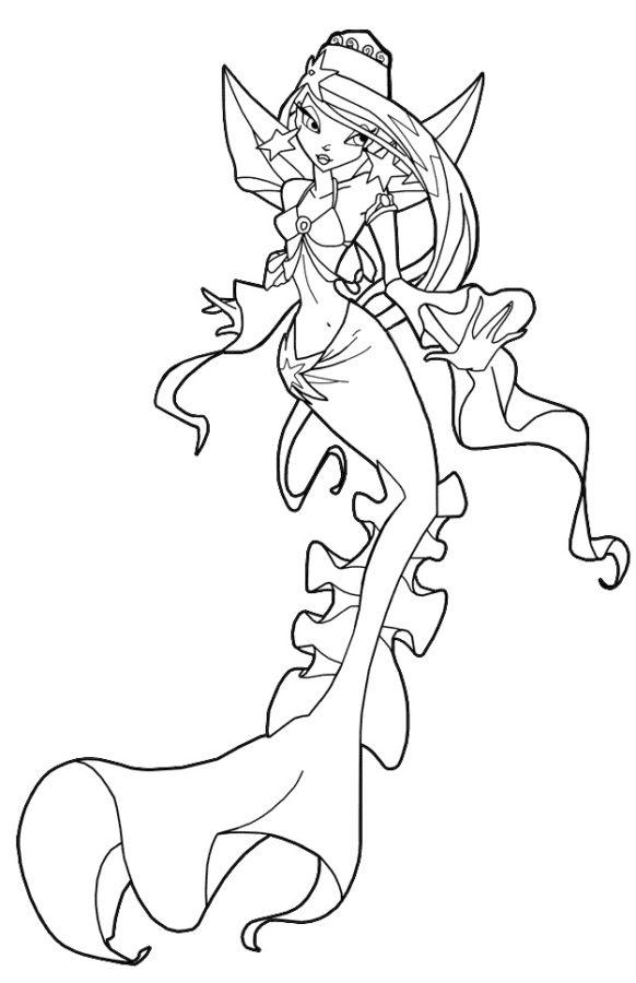 Раскраска Винкс русалка