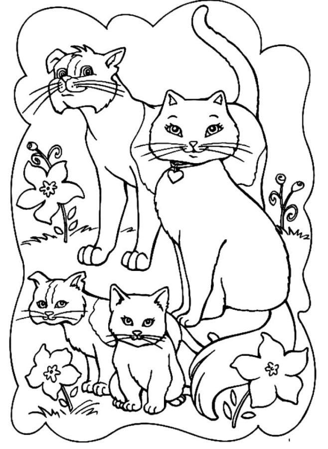 Раскраска семья кошек