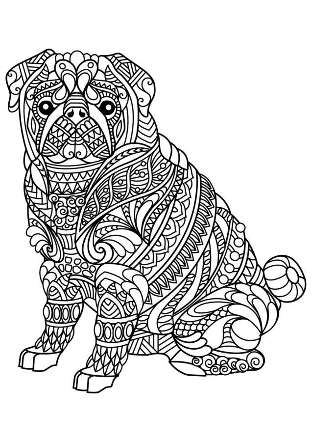 Сложная раскраска собаки