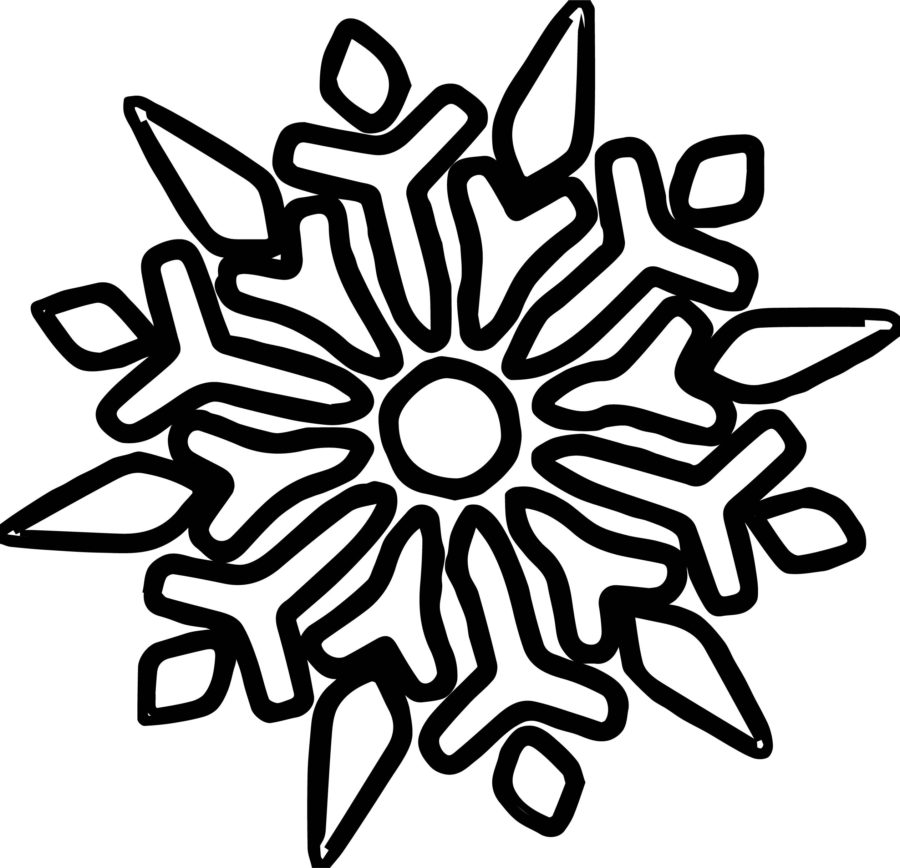 Раскраска большая снежинка