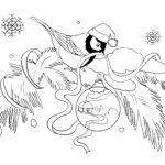 Раскраска новогодний снегирь