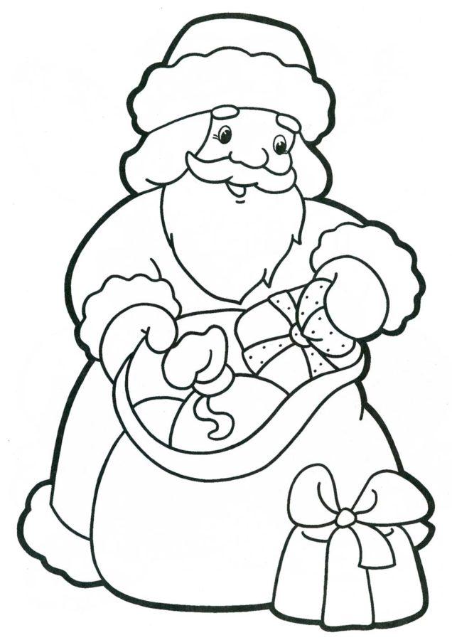 Раскраска Деда Мороза с подарками