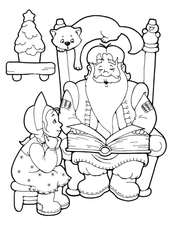 Раскраска Деда Мороза со снегурочкой