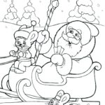 Дед Мороз в санях раскраска