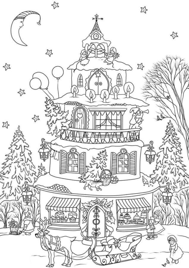 Раскраска домик с ёлкой