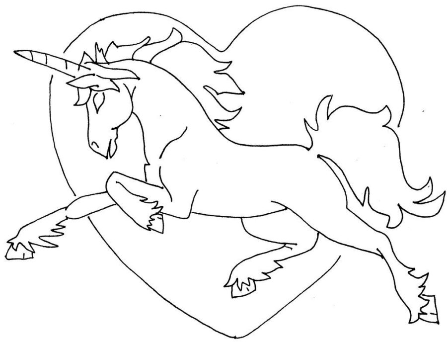 Единорог с сердечком раскраска