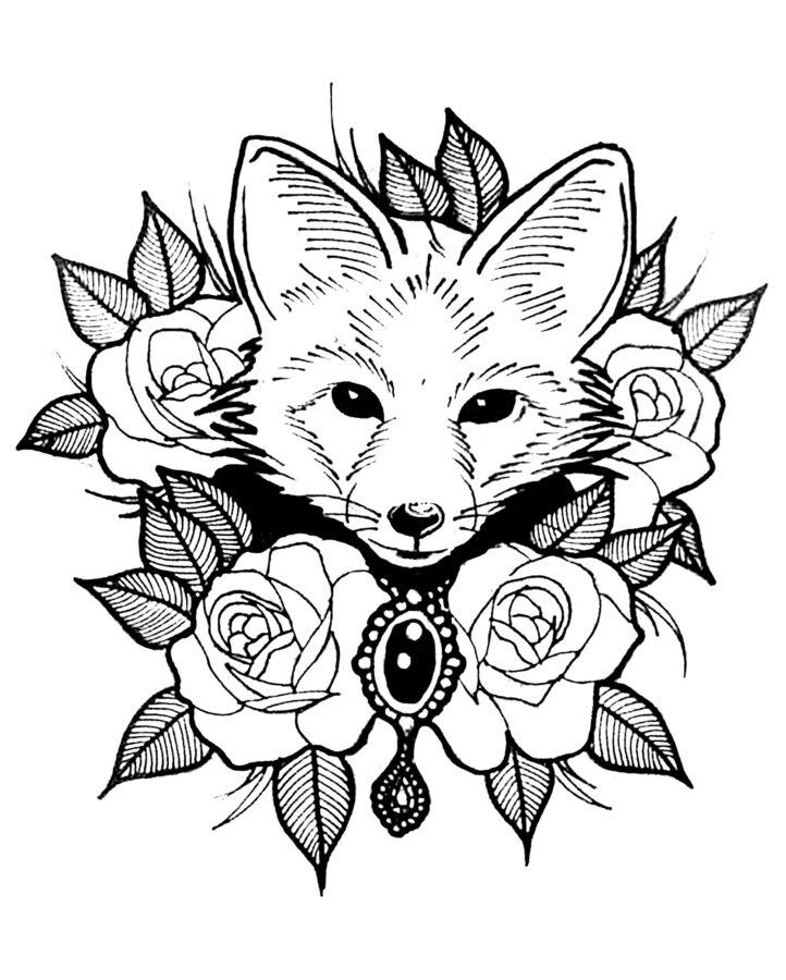 Раскраска голова лисы