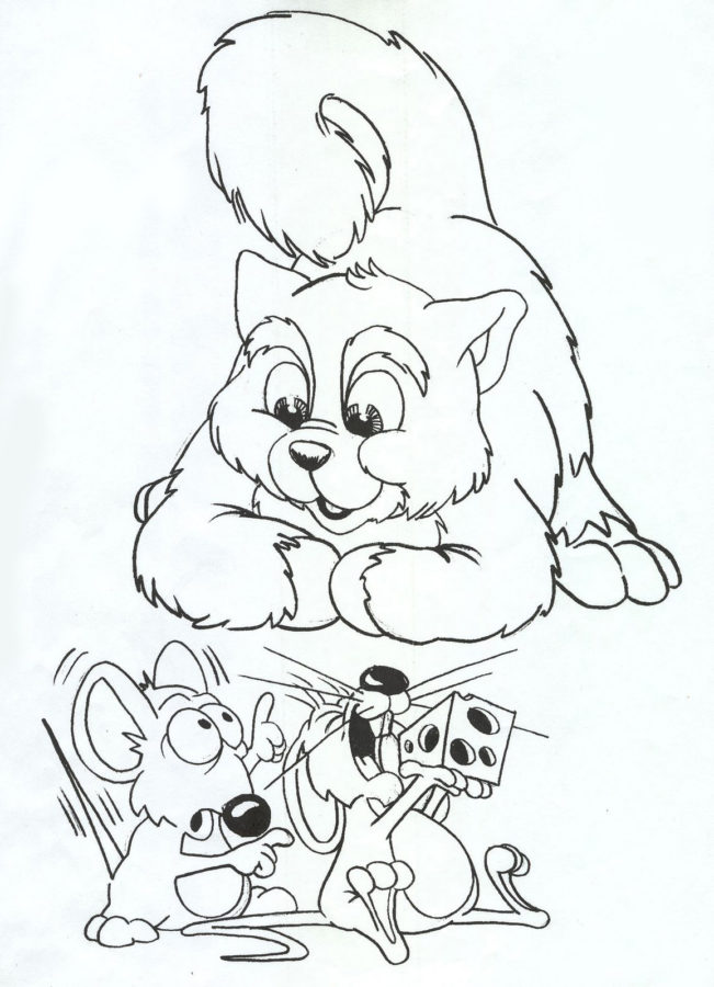 Картинка раскраска кошка с мышками