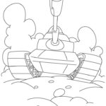 Картинка раскраска танк ведёт бой