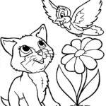 Кошка с цветами раскраска