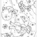 Лепить снеговика раскраска