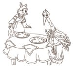 Лиса и журавль сказка раскраска
