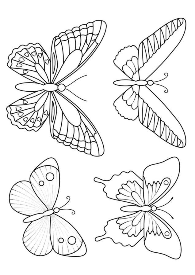 Маленькие бабочки раскраски
