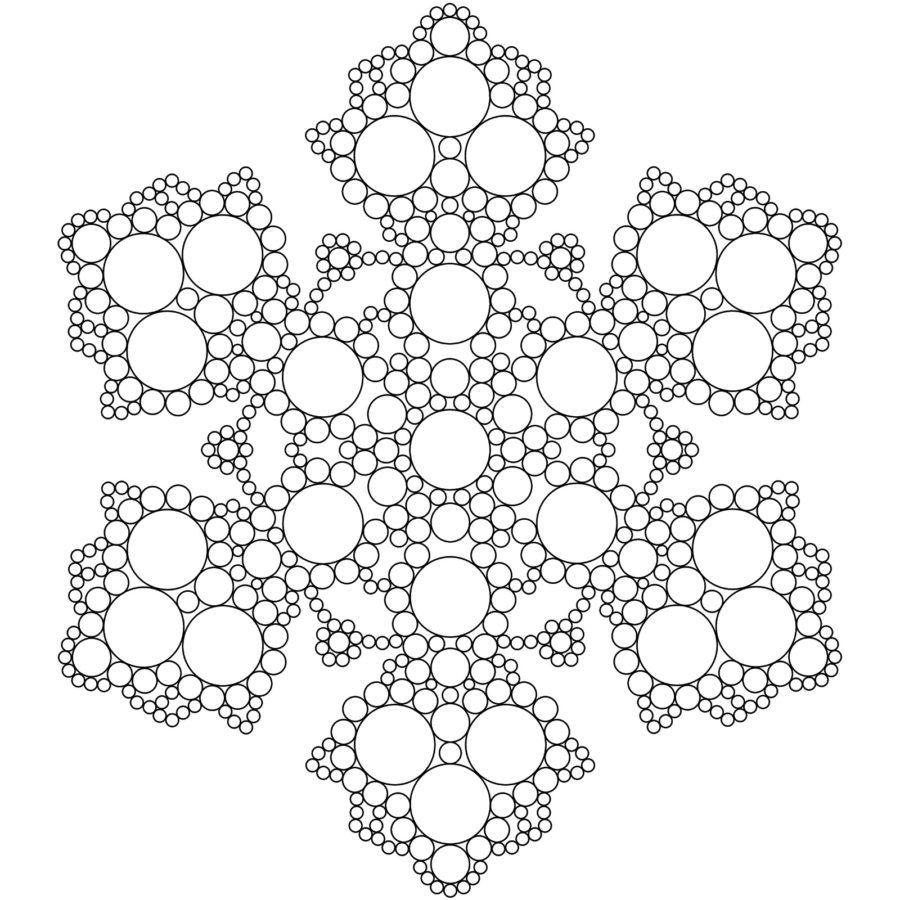 Раскраска Мандала снежинка