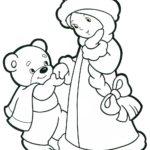 Мишка снегурочка раскраска