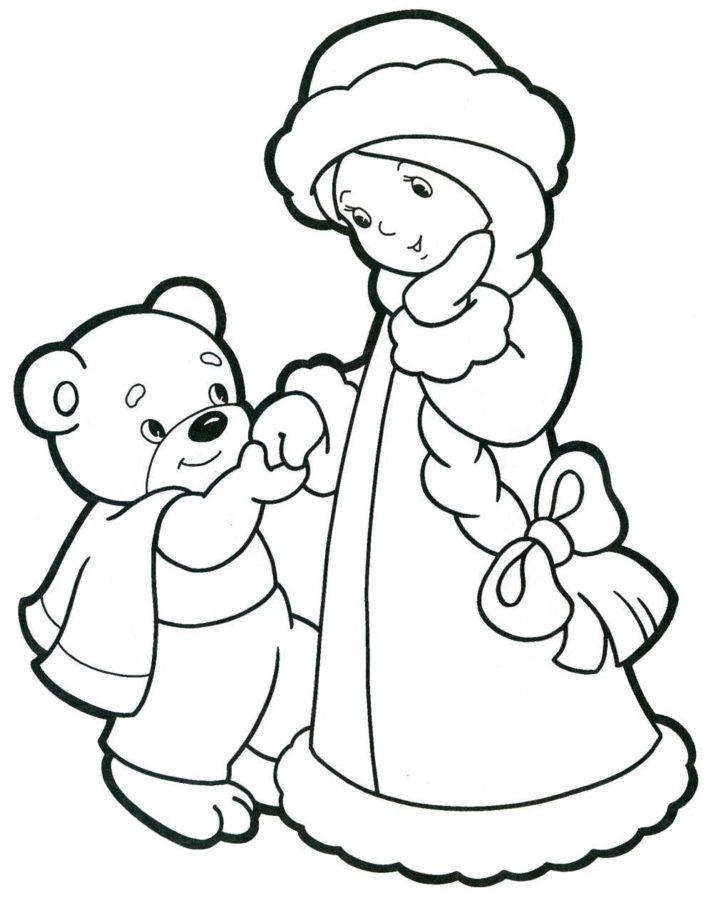 Раскраска Мишка и Снегурочка