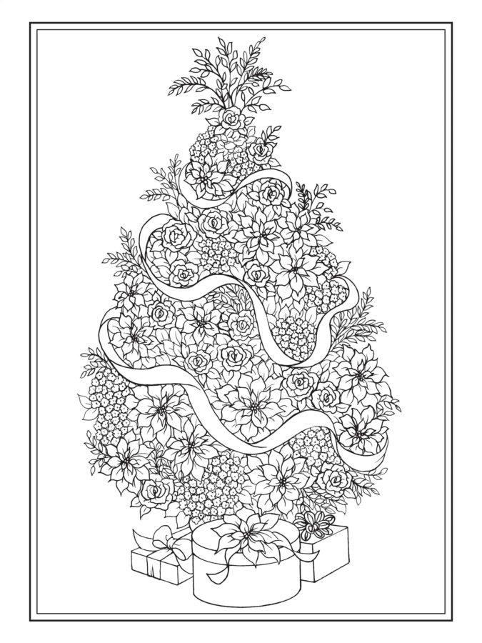 Раскраска ёлка из цветов