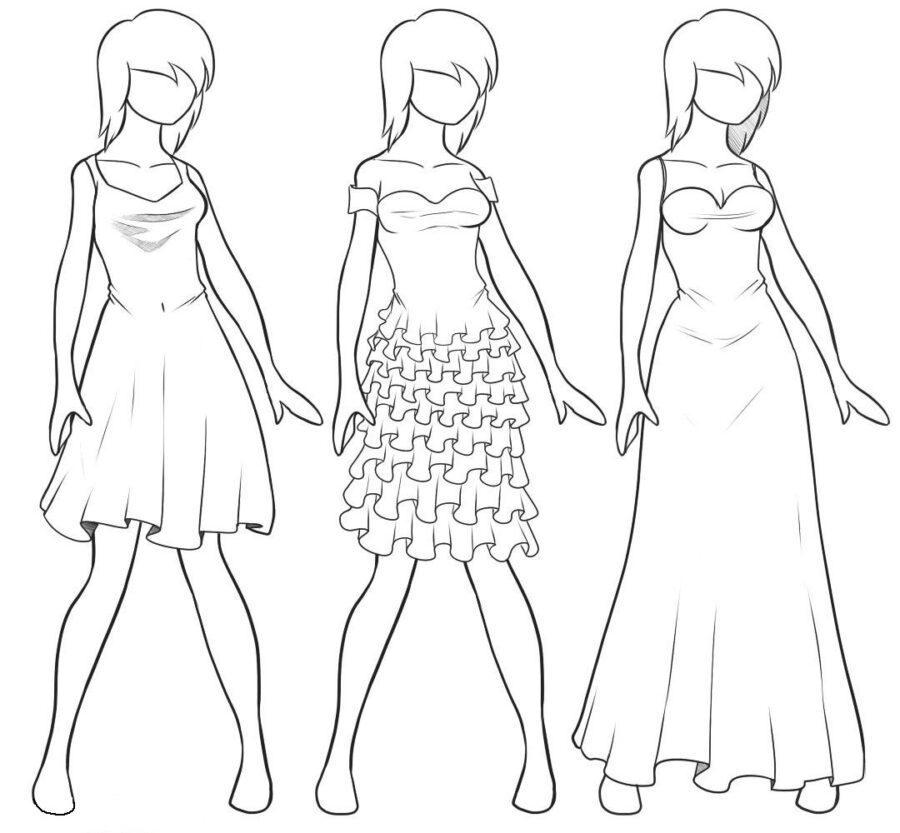 Раскраска шаблон 3 платья
