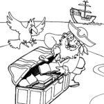 Попугай у пиратов раскраска