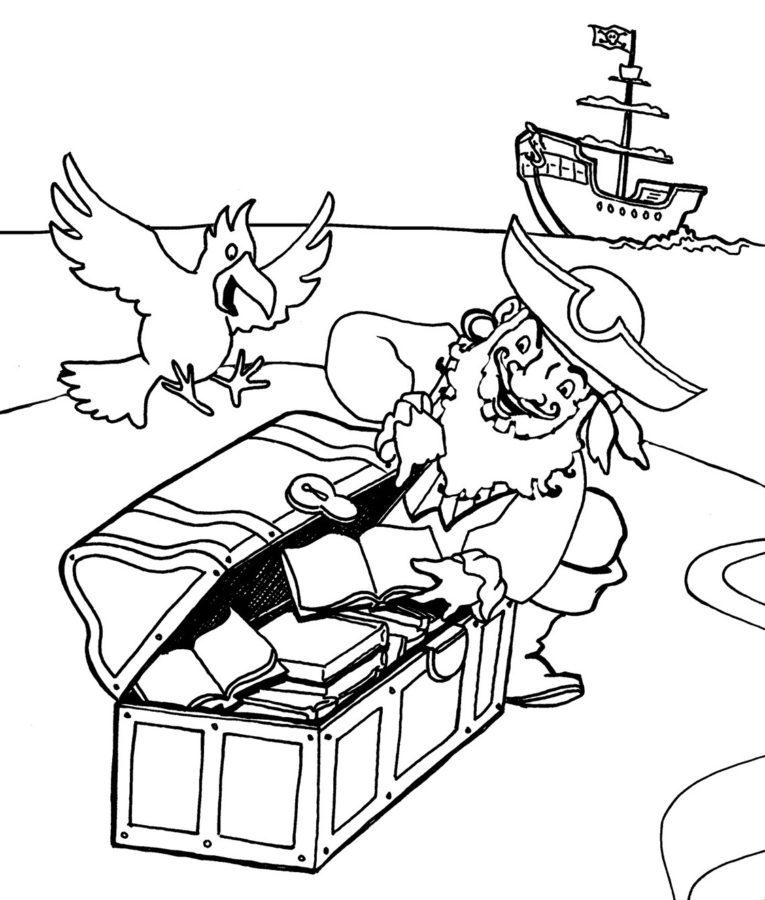 Раскраска попугай у пиратов